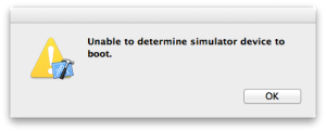 Unable to determine simulator device to boot.