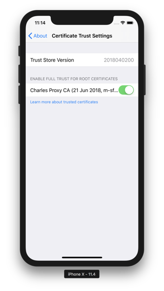 Charles - iOS Trust Settings Enabled